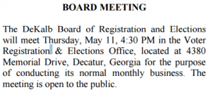 May Elections Board Meeting Notice