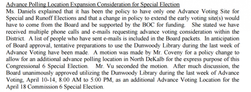 Snippet Board of Elections Minutes