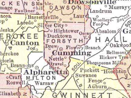 Forsyth Georgia Map.Forsyth County Georgia Some History Brambleman